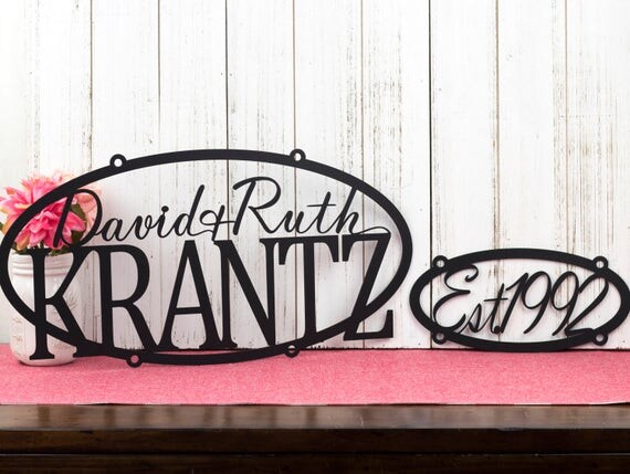 Custom Family Name and Established Sign | Personalized Sign | Outdoor Sign | Name Sign | Custom Sign | Wedding Gift | Family Name Sign