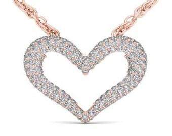 10Kt Rose Gold 0.33 Ct Diamond Open Heart Pendant