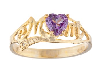 14Kt Yellow Gold Plated Alexandrite & Diamond Heart MOM Ring
