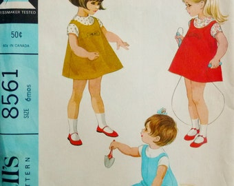 Baby Girl Vintage Overalls, Jumper, Blouse McCall's 8561 Sewing Pattern Toddler Size 6 Mos. 1960s