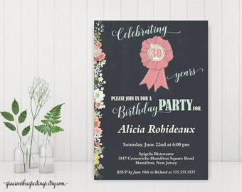 30th Birthday Party Invitation, Woman's Birthday Party Invite, Surprise Birthday Invite 40th, 50th, 60th, 70th, 90th, printable A7002
