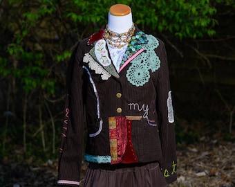 Boho Clothing, Bohemian Upcycled Jacket, Gypsy Clothing, Altered Clothing, Refashioned Clothing, Embellished Couture, Festival, Size Large