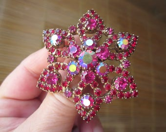 MOTHERS'S Day- Gift for Her! Large STAR /FLOWER brooch w. Aurora borealis Red-Ruby color crystal-rhinestones