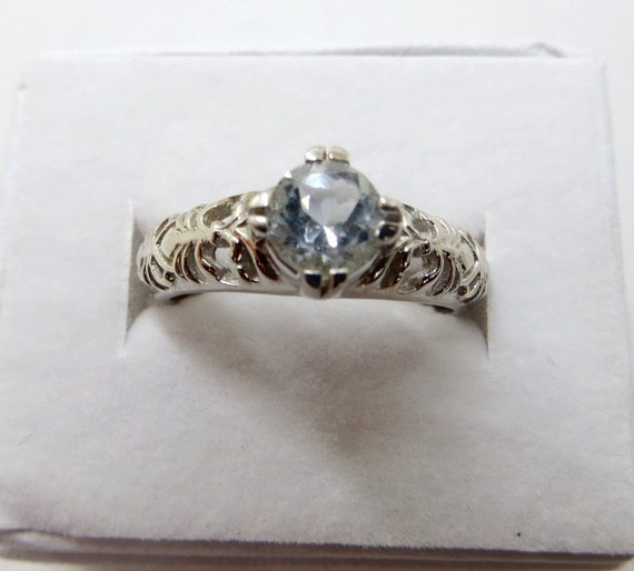 Art Deco Aquamarine Ring, Sterling Silver Filigree, Wedding Solitaire, .5ct. Ring Size 7.75