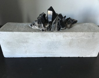 Black Quartz Crystal and Concrete Decorative Object - Home Decor - Healing Crystal
