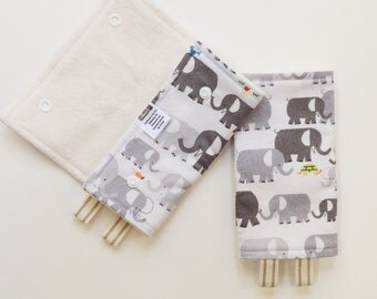 Completely ORGANIC Elephant Friends Drool Pads and Top Teething Bib SET - Tula Beco Lillebaby Ergo Boba and More