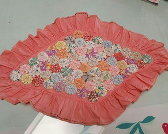 Decorative YoYo Pillow Case with Coral Cotton Back and Ruffle
