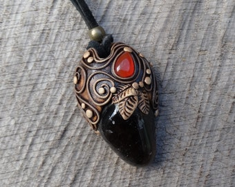 SHIPPING INCLUDED Smoky Quartz and Carnelian Pendant