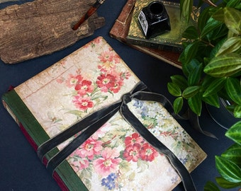 Floral Wedding Guest Book| Vintage Victorian Botanical Photo Album Scrapbook | Made to order 8.5x6""