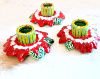 Vintage Ceramic Christmas CandleStick Holders Set of 3 Red Green Painted Ceramic Leaves 1970 Vintage Decor  Taper Christmas Candle Holders