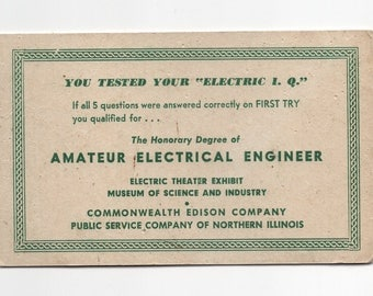 "Vintage ""Electric I.Q."" Test Promo Card Ad Piece for Commonwealth Edison Co Public Service of Northern Illinois Museum of Science & Industry"