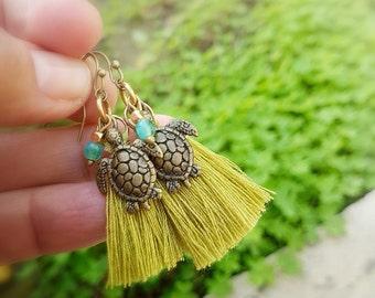 Turtle jewelry, turtle earrings, Sea turtle dangle earrings,Tassel earrings, Lime chartreuse tassel earrings,Turtle lover gift,Boho earrings
