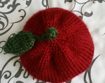 Hand-Knit Red Apple Baby Beanie