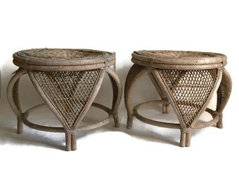 Mid Century Rattan Bamboo Ottomans Stools Moroccan Moorish Bent Bamboo Side Tables Ornate Modern Bohemian Weathered PAIR Vintage Bamboo