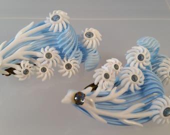 Light Blue & White Flower Plastic Rhinestone Clip On Earrings Signed Germany