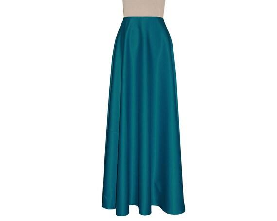 formal skirt bridesmaid teal evening maxi skirt duchess