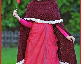 Enchanted Rose Cape Crocheted Handmade Women's Hooded Poncho Cape