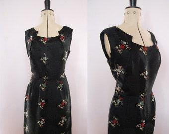Vintage 50s 60s Cheongsam silk satin cocktail dress - Cheongsam Dress - Vintage Chinese print dress - 50s Wiggle Dress - 50s cocktail dress