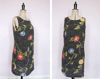 Vintage 1990s sunflower polka dot dress - 90s floral dress  - 90s rayon dress - 90s Babydoll dress - 1990's grunge - 90s summer dress
