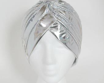 Silver Turban, Silver Fullheadband, Show Stopper Headband, Turban For Woman, Turban, Silver Shiny Turban, Doo Rag, Performance Turban,