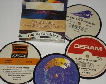 The MOODY BLUES coaster set, upcycled vinyl record coasters