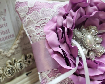 Wedding Ring Pillow Purple Satin Flowers White Lace with Large Flower Detail