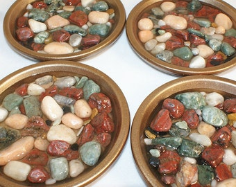 Multi-colored Pebbled Soap Dish in Teal, Burgundy, and Neutrals