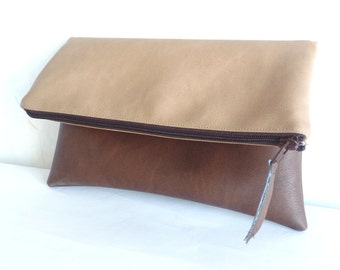 Leather clutch, Vegan leather colorblock clutch, Foldover clutch purse, Zippered clutch bag