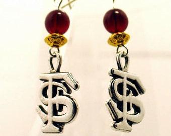 FSU Earrings, FSU Seminole Earrings, Seminole Earrings, Florida State Logo Earrings, FSU Chandelier Earrings, Florida State JewelryA