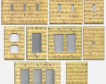 Classical Sheet Music Notes Light Switch Plates and Wall Outlet Covers Home Decor Accents Musical Theme