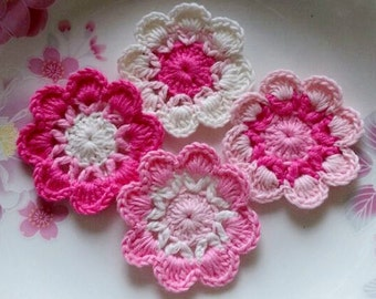 4 Crochet  Flowers In 2 inches  Applies YH - 228-03