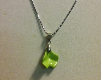 Artisan Handmade Lime Green Irregular Shape Bead Pendant On White Gold Plated Chain Necklace Jewelry Gift Unique Accessory