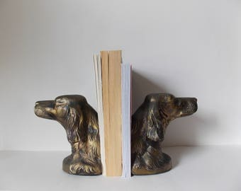 Vintage Dog Bookends Mid Century Metal Setter Face Book Holders