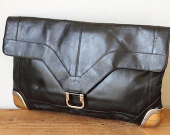LOU TAYLOR Black Leather Clutch/ Vintage 1960s Black Handbag/ Lou Taylor Black Leather Purse/ Lou Taylor Handbag