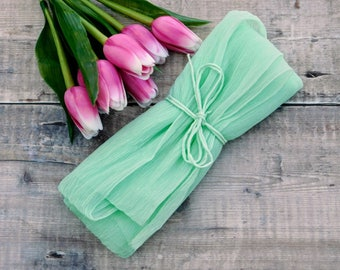 Mint green silk fabric - hand dyed chiffon silk - mint crinkle chiffon
