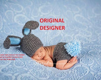 Baby Boy Bunny Hat NEWBORN 3 6 9 12 months Too Cute  Baby Boy or Girl Crochet Bunny Hat/Diaper Cover More Colors  Easter Set