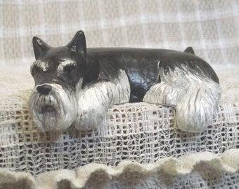 Schnauzer black silver Shelf-Sitter Figurine New Realistic Hand-painted Schnauzer figure