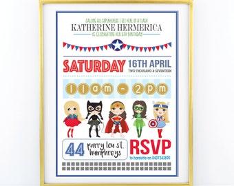 "INVITATION - Girls SUPERHERO Birthday Invitation for Princess Party - Personalised 5x7"" - Modern, Contemporary - Printable, Digital"