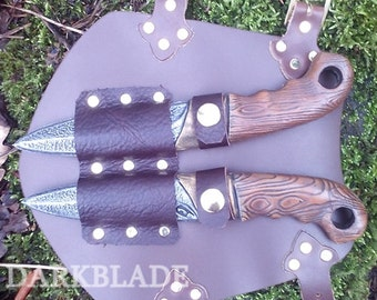 Throwing Knife Vambrace for Larp or Cosplay, Larp safe knives included.