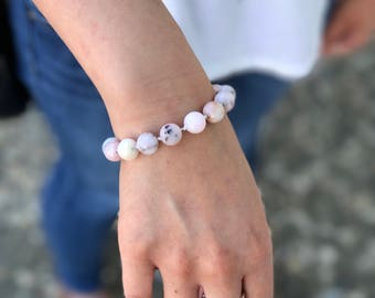 Pink peruvian opal bracelet with sterling silver toggle
