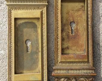 Pair Antique Neo Classical Cast Brass Pocket Sliding Door Hardware Pulls Handle Plate