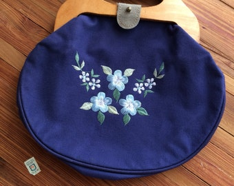 Vintage Wood Handle Purse Navy Blue with Floral Embroidery