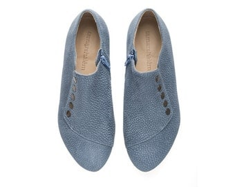 Grace Denim Blue shoes handmade flats leather shoes by Tamar Shalem