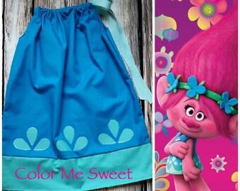 Rush my Poppy dress, trolls party, princess poppy, Rush shipping, Trolls birthday party, pillowcase dress,poppy trolls dress, princess Poppy