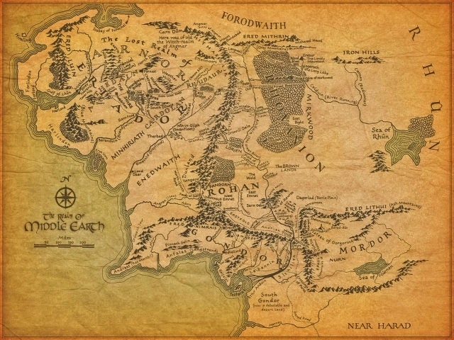 lord of the rings realm of middle earth map the shire