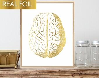 Gold Foil Brain Art, Med Student Gift, Human Brain Art, Doctor Gift, Anatomy Print, Anatomical Brain, Nursing Wall Art Vintage Medical Decor