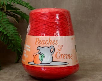 Red Yarn, Knitting Machine and Weaving Yarn, 100 % Cotton 4 ply 1lb Cone, Red Crochet Yarn, Peaches & Cream, Made in the USA, SammieDoos