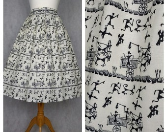 1950s vintage style dirndl skirt in a novelty native print. Limited!