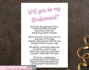 Will You Be My Bridesmaid Printable Poem - Bridesmaid Printable Poem - DIY Bridesmaid Gift Idea - Bridesmaid Card - Instant Download