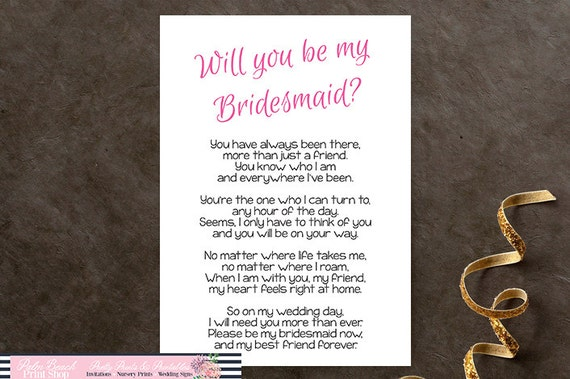Will You Be My Bridesmaid Printable Poem